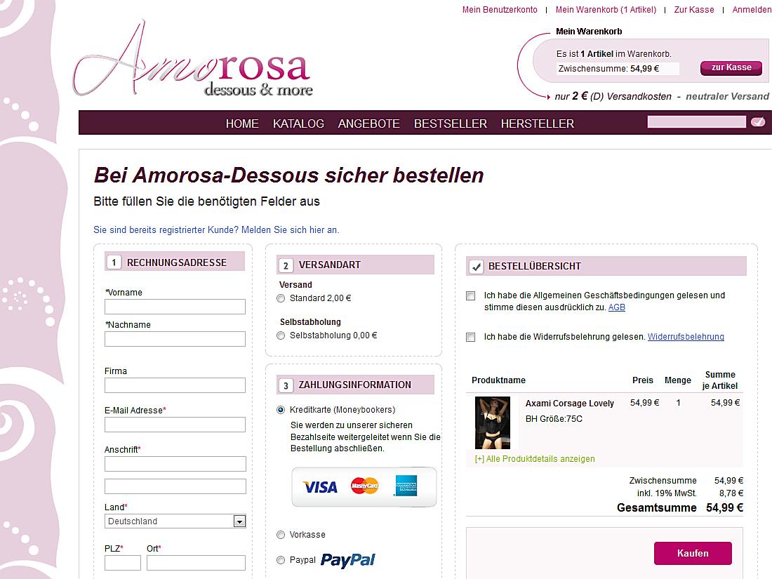 Amorosa Dessous, One Step Checkout