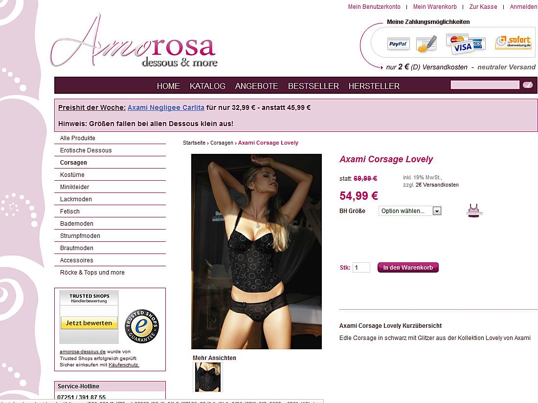 Amorosa Dessous, Produktseite