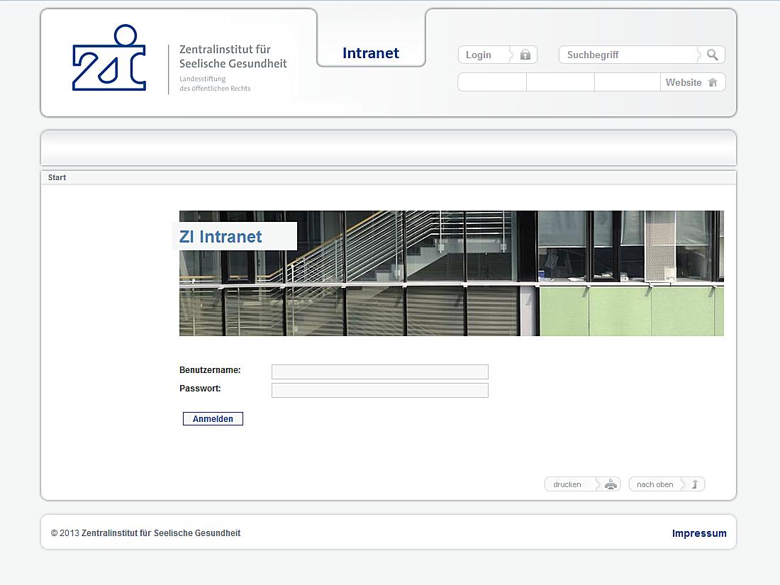 Internet Auftritt Zi, Mannheim - Intranet