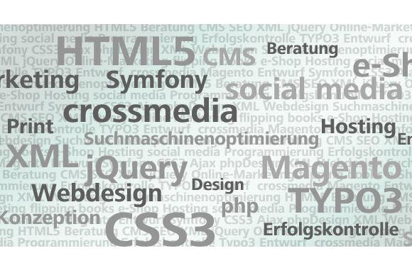 Technologien der Internet Agentur aus Mannheim: HTML5, jQuery, SEO, Magento, TYPO3, CSS3, Webdesign, TYPO3, CMS, social media