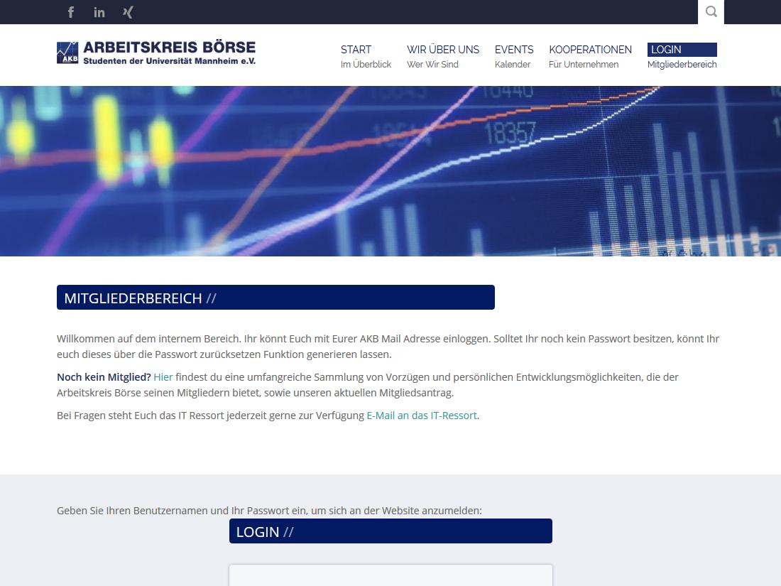 Neuer responsive Internet Auftritt des Arbeitskreis Börse, Mannheim - Mitgliederbereich