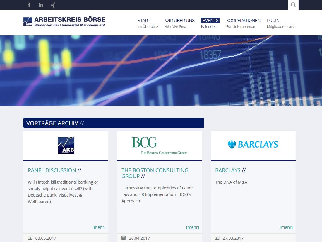 Neuer responsive Internet Auftritt des Arbeitskreis Börse, Mannheim - Veranstaltungen