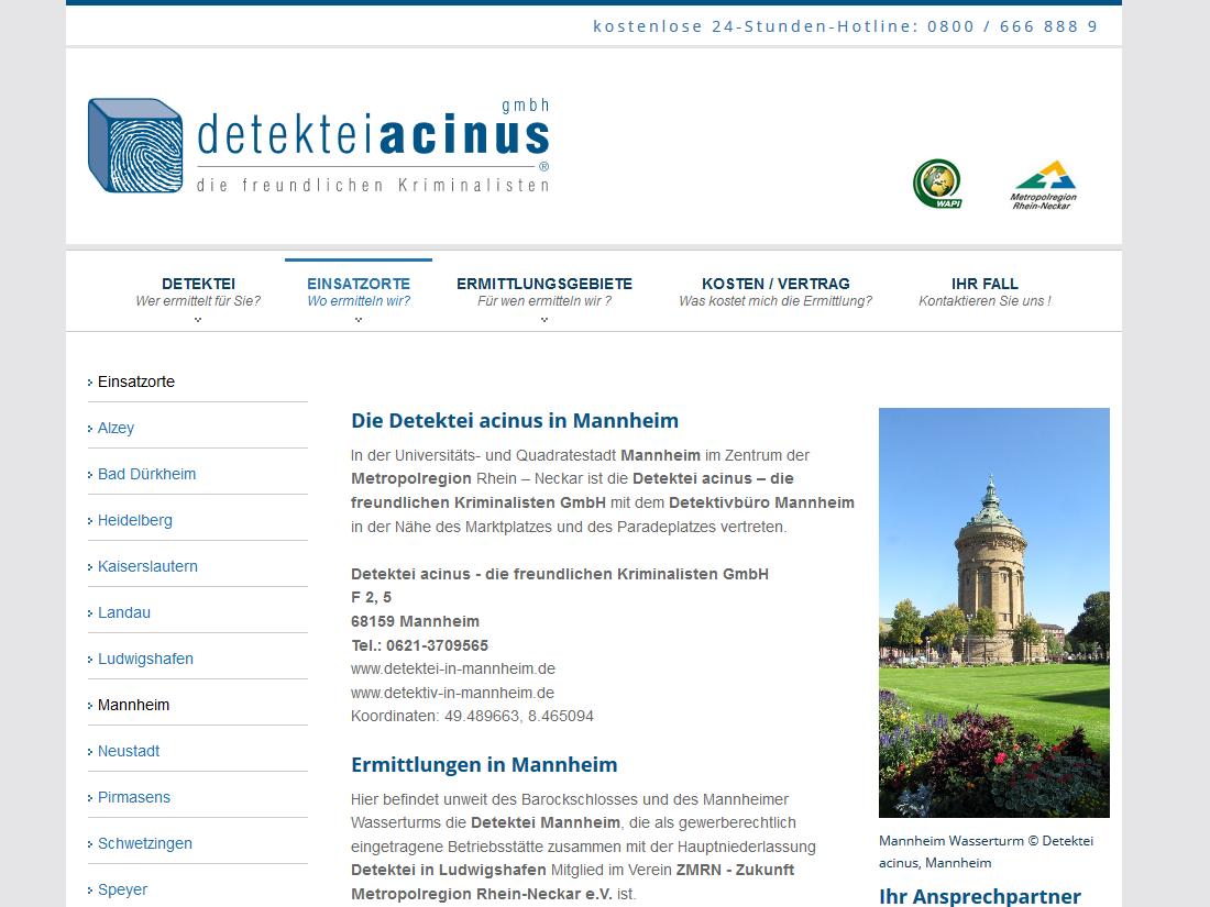 Neue Website acinus GmbH - Detektiv in Mannheim