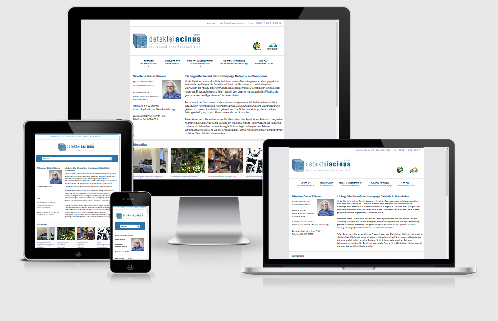 Neuer responsive Internet Auftritt acinus GmbH - Detektiv in Mannheim