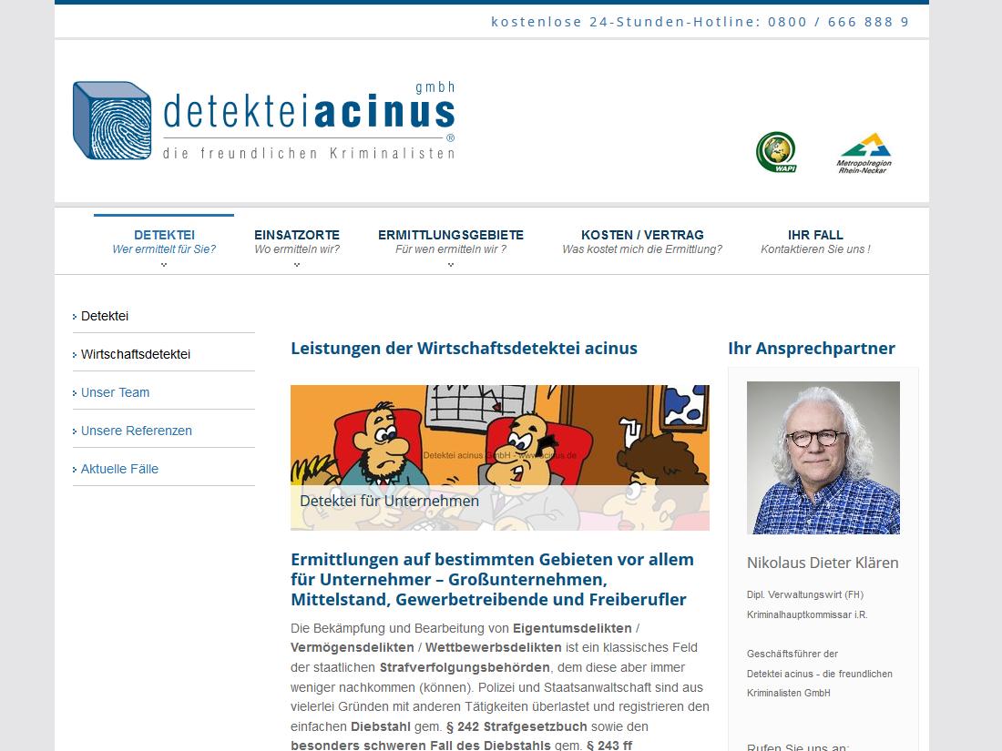 Neue Website acinus GmbH - Detektiv in Mannheim - Wirtschaftsdetektei