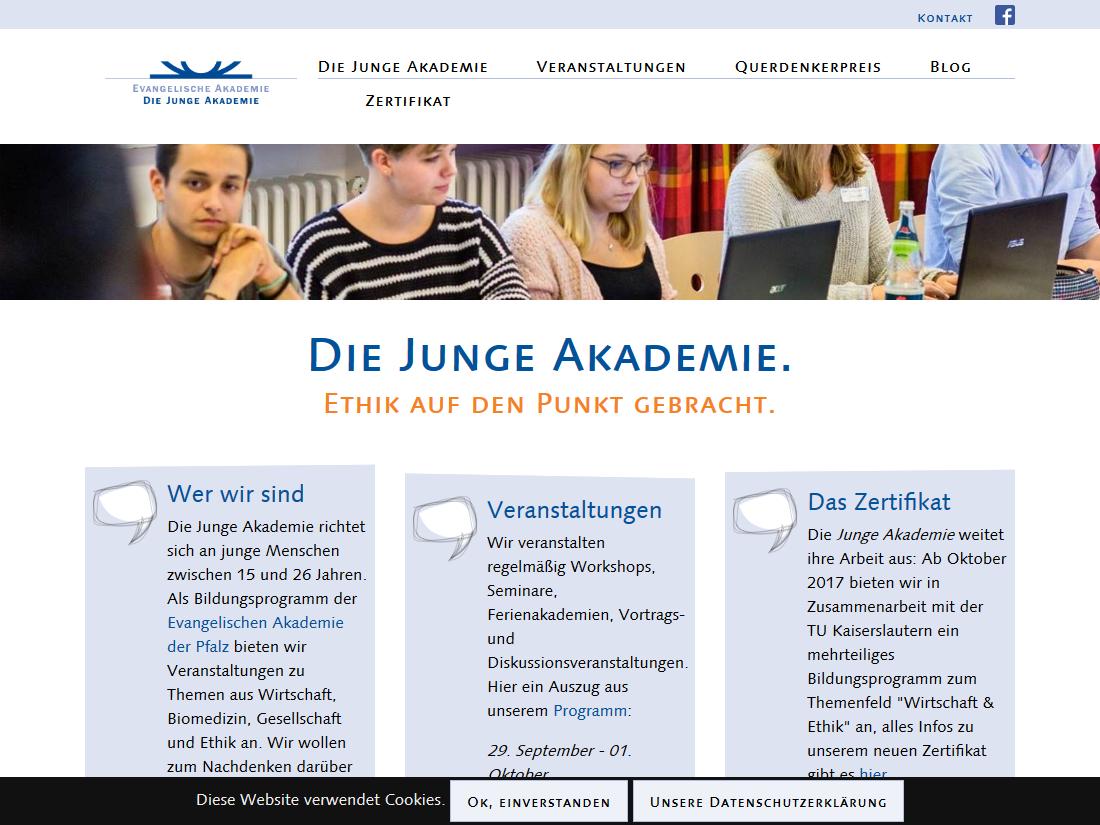 Neuer responsive Internet Auftritt für Die Junge Akademie - Startseite