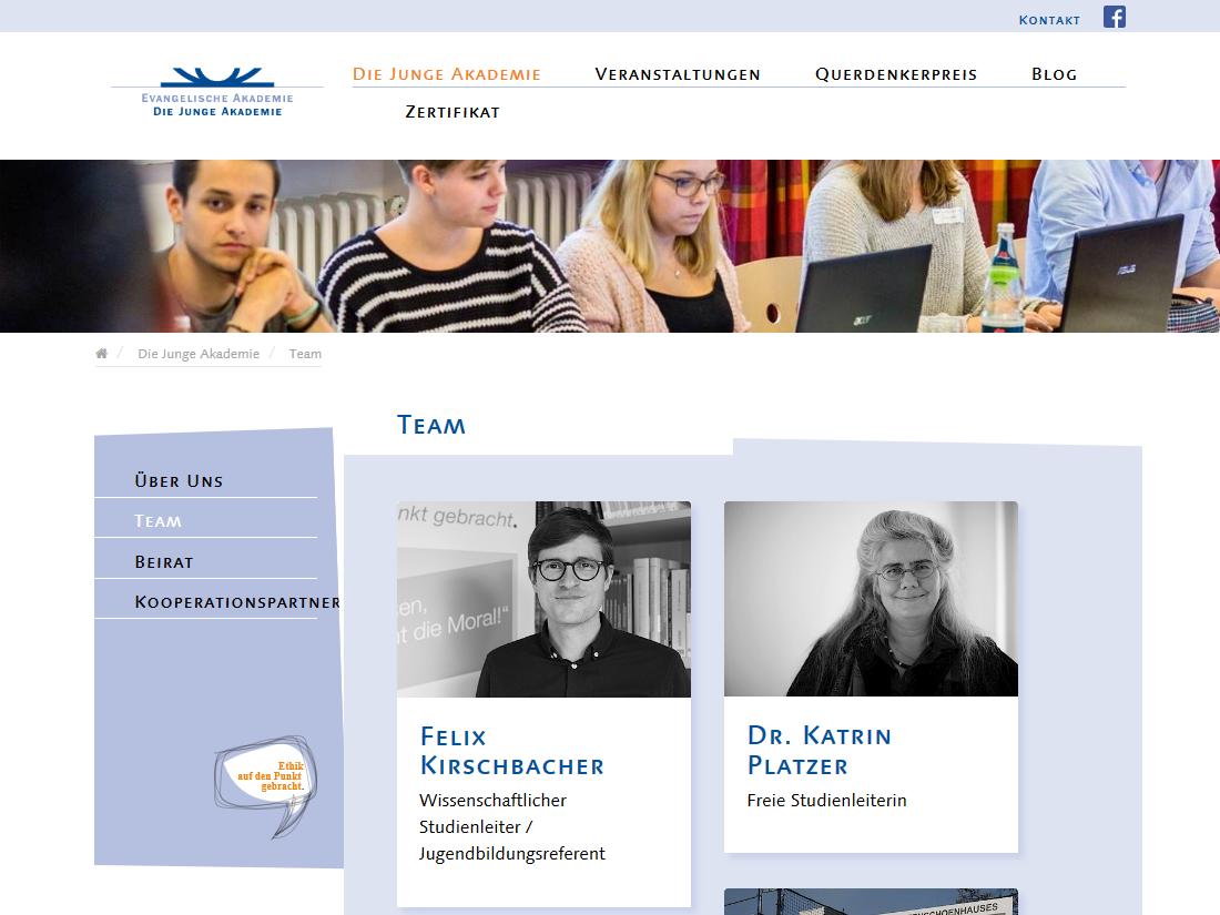 Neuer responsive Internet Auftritt für Die Junge Akademie - Teamseite