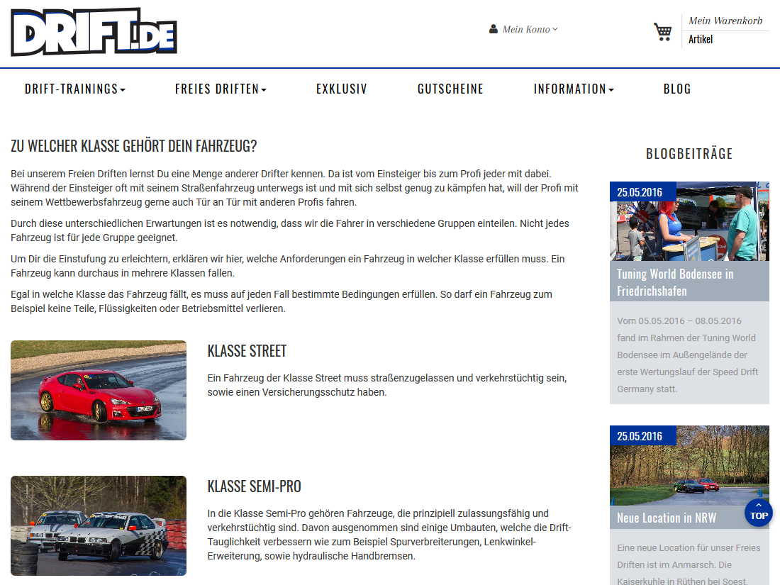 Neuer responsive Internet Shop für drift.de - Fahrzeug Klassen
