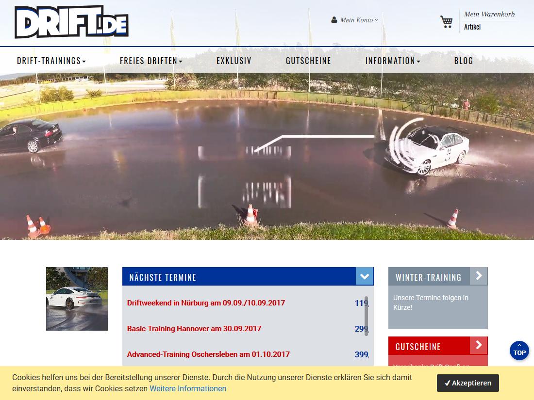 Neuer responsive Internet Shop für drift.de - Startseite