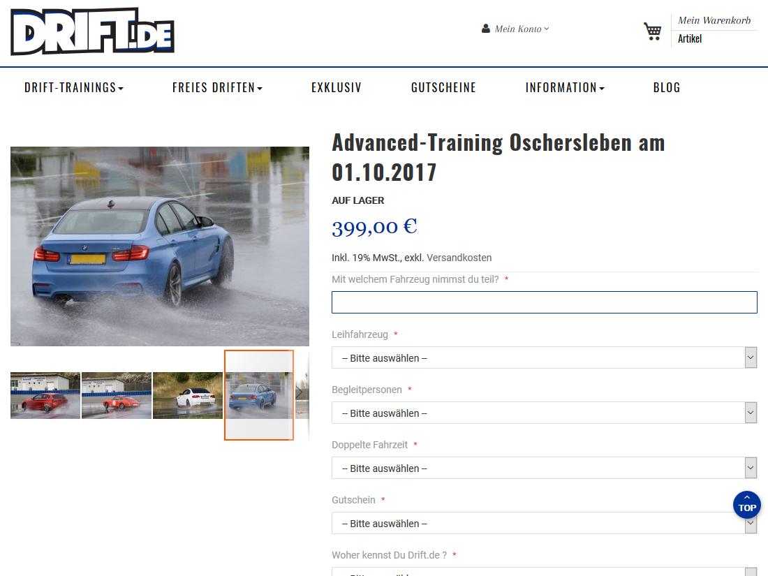 Neuer responsive Internet Shop für drift.de - Training buchen