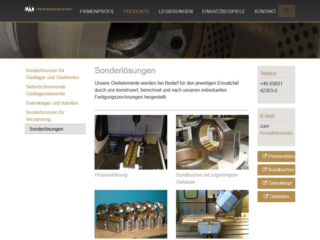 Neuer responsive Internet Auftritt Pan Metallgesellschaft Baumgärtner GmbH & Co. KG, Mannheim - Lösungen