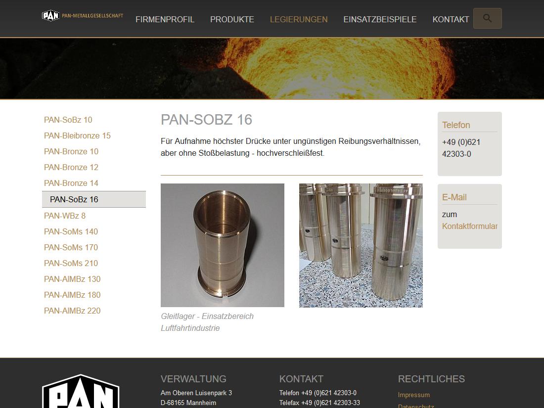 Neuer responsive Internet Auftritt Pan Metallgesellschaft Baumgärtner GmbH & Co. KG, Mannheim - Produkt