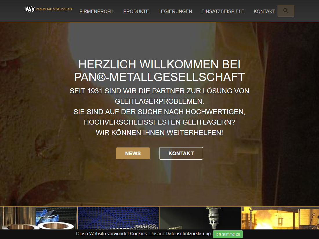 Neuer responsive Internet Auftritt Pan Metallgesellschaft Baumgärtner GmbH & Co. KG, Mannheim - Startseite
