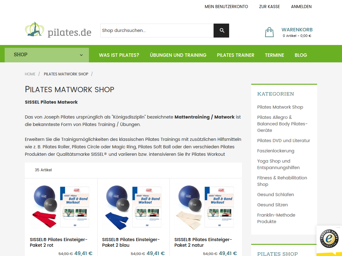 Neuer Internet Shop pilates.de - Kategorieseite