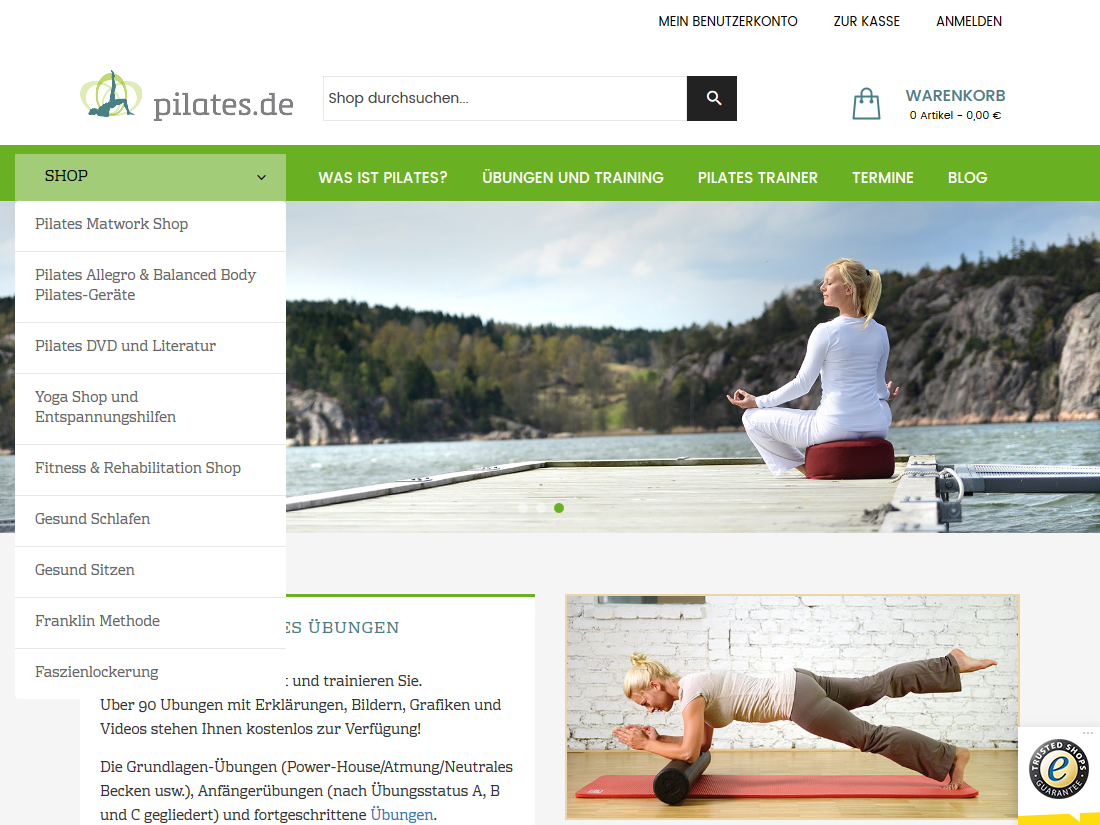 Neuer Internet Shop pilates.de