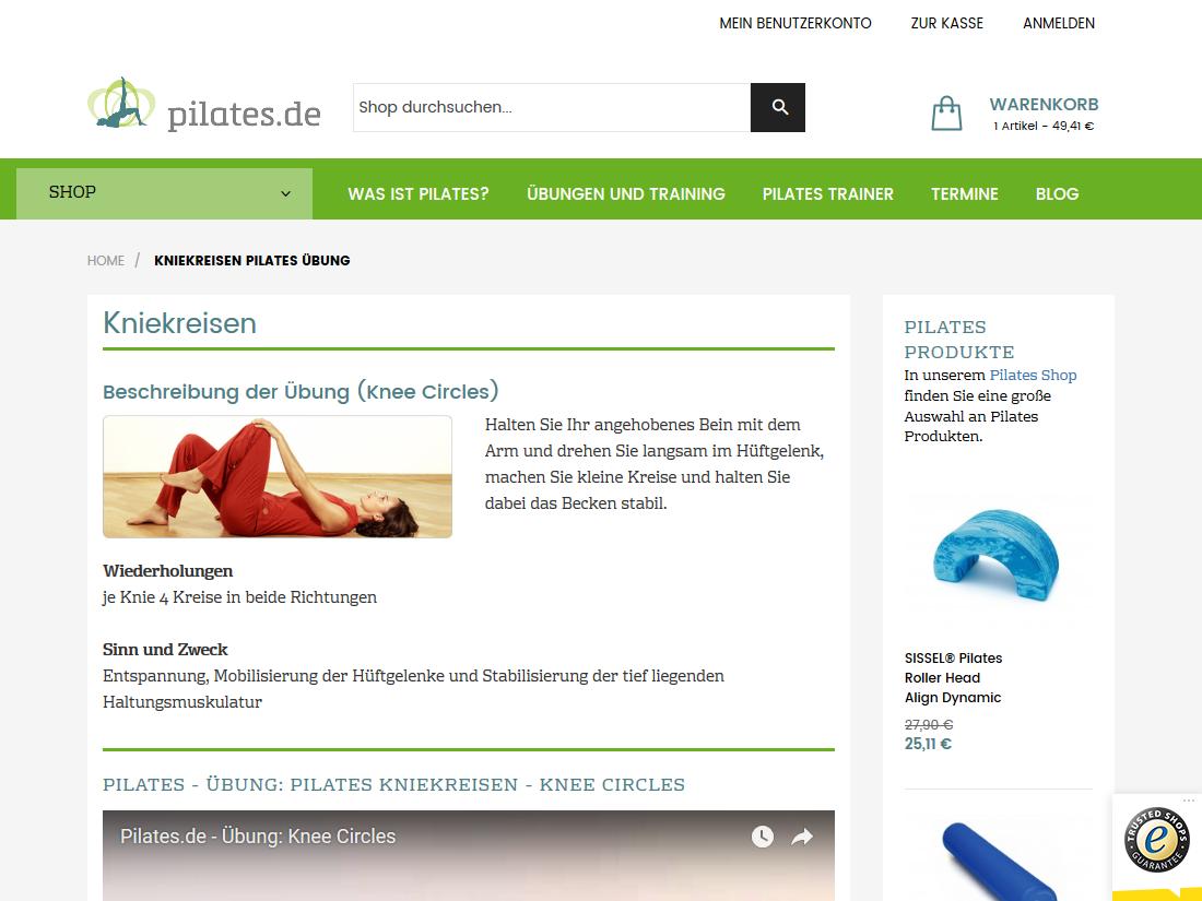 Neuer Internet Shop pilates.de - Übungen