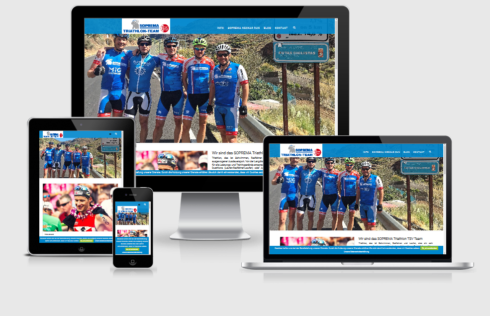 Responsive Internet Auftritt für das SOPREMA Triathlon Team