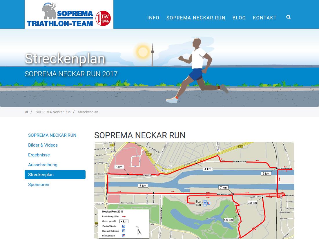 Responsive Internet Auftritt für das SOPREMA Triathlon Team - Neckarrun