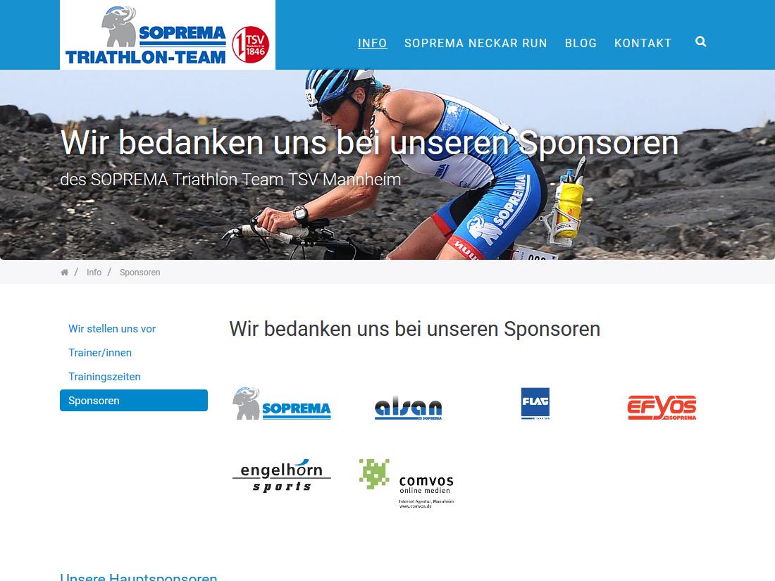 Responsive Internet Auftritt für das SOPREMA Triathlon Team - Sponsoren