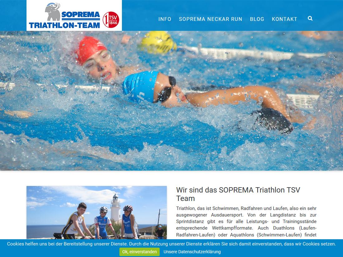 Responsive Internet Auftritt für das SOPREMA Triathlon Team - Startseite