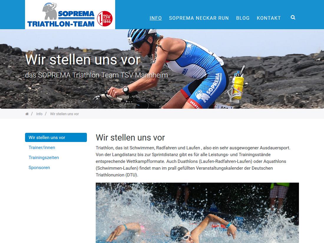 Responsive Internet Auftritt für das SOPREMA Triathlon Team - Teamseite
