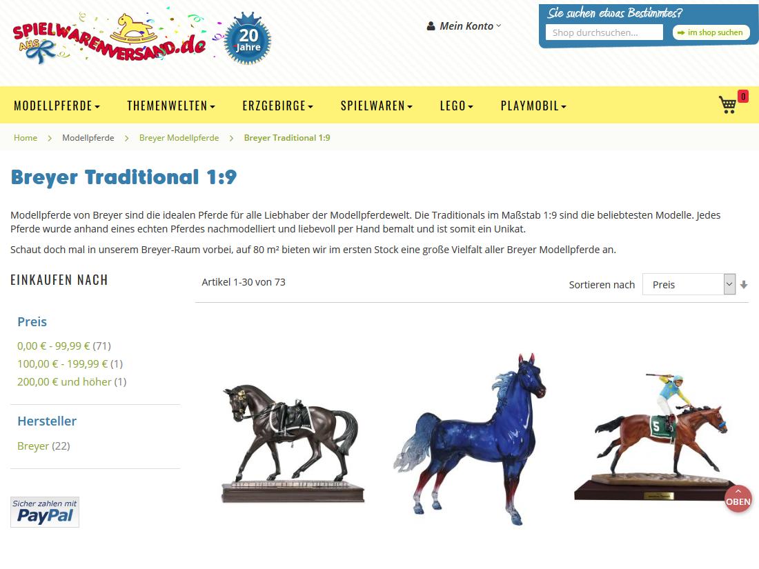 Neuer responsive Internet Shop für spielwarenversand.de - Kategorieseite