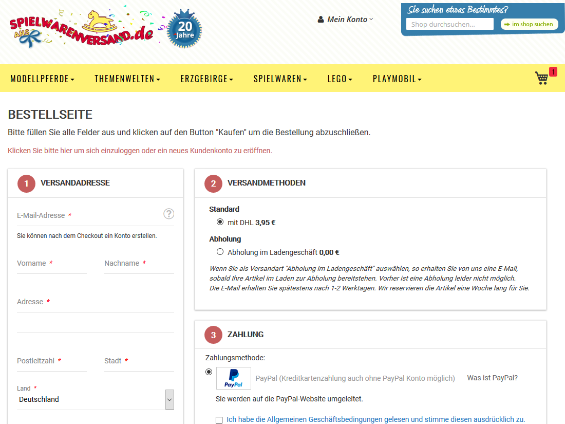 Neuer responsive Internet Shop für spielwarenversand.de - Checkout