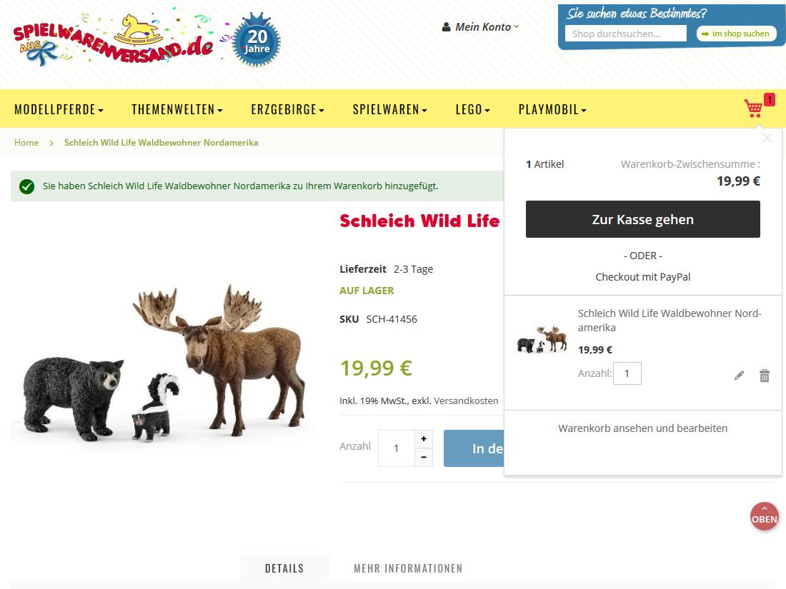 Neuer responsive Internet Shop für spielwarenversand.de - Warenkorb