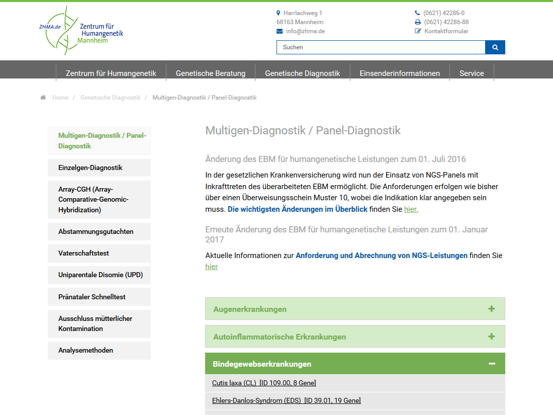 Neuer responsive Internet Auftritt für SYNLAB MVZ Humangenetik, Mannheim - Multigen Diagnostik