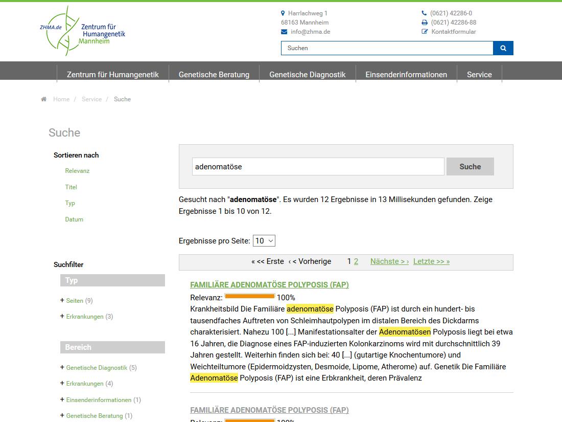 Neuer responsive Internet Auftritt für SYNLAB MVZ Humangenetik, Mannheim - Solr Suche