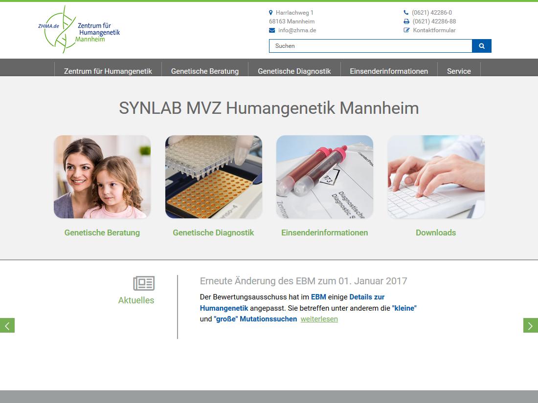 Neuer responsive Internet Auftritt für SYNLAB MVZ Humangenetik, Mannheim - Startseite
